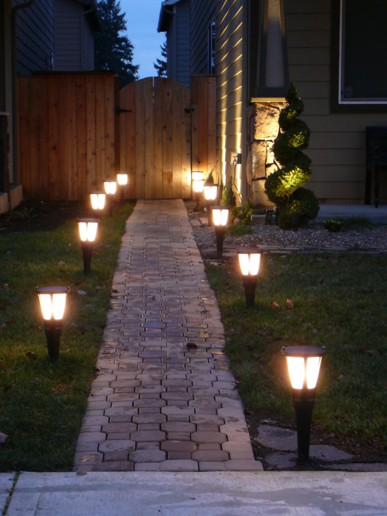 exterior ideas inspiring landscape pathway decors with cement pavers and green grass around as well as solar outdoor lighting ideas in front yard views romanesque outdoor lighti